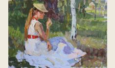 Петр Альберти. Девушка на траве. Карт.м., 33х48. 1960