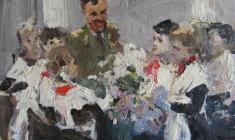 Петр Альберти. Космонавт и юные пионеры. Карт.м., 32,9х43,9. 1966