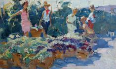 Петр Альберти. Уборка винограда. Карт.м., 32х45. 1958