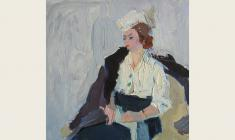 Петр Альберти. Девушка в кресле. Карт.м., 24,5х25,5. 1960