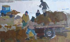 Петр Альберти. Зимние заботы. Карт.м., 32,6х47,5. 1958