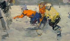 Петр Альберти. Юные хоккеисты. Карт.м., 35х50. 1968