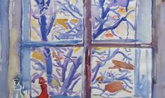 Евгения Антипова. Окно. Бум.,акв., 56,5х50. 1968