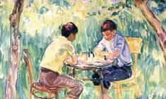 Евгения Антипова. Мальчики в саду. Х.м., 120х135. 1980