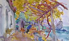 Евгения Антипова. Домашний сад. Бум.,акв., 50х65. 1968