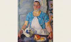 Евгения Антипова. Официантка. Х.м., 100х70. 1964