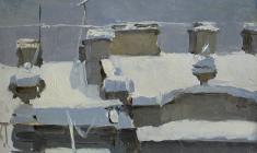 Таисия Афонина. Крыша. Карт.м., 11х17. 1955