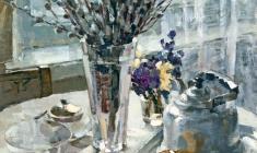 Таисия Афонина. Натюрморт с вербой. Карт.м., 80х60. 1964