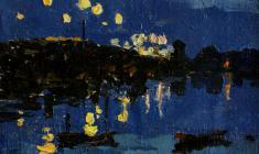 Таисия Афонина. На Тучковом мосту.  Х.м., 13,5х17. 1954