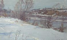 Всеволод Баженов. Весна на Волхове. Карт.м., 29х45. 1981