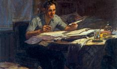 Юрий Белов. Рабочий-новатор. Х.м., 51х45,5. 1954