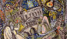 Валентин Блинов. Санкт-Петербург. У Троицкого собора. Картон, смешанная техника, 20х20.2011