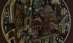 Валентин Блинов. Весна у Никольского. Картон, смешанная техника, 20х20.2011