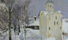 Андрей Блиок. Церковь Св. Георгия в Старой Ладоге. Х.м.,60,5х80. 1976