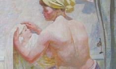 Вениамин Борисов. После ванны. Х.м., 100х85. 1993