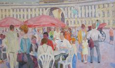 Вениамин Борисов. На Дворцовой площади в Санкт-Петербурге. Х.м., 60х80. 1992