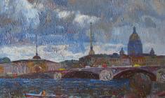 Вениамин Борисов. Наводнение в Ленинграде. Х.м., 38х55. 1989