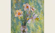 Вениамин Борисов. Цветы. Х.м., 57х34. 2001