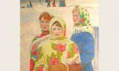 Вениамин Борисов. Подружки. Х.м., 89,5х80. 1990