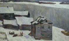 Вениамин Борисов. Северная деревня. Карт.м., 50х70. 1978