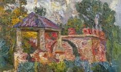 Вениамин Борисов. Руины в Павловске. Карт.м., 48,5х68. 1962