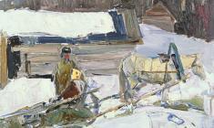 Злата Бызова. Зима в Старой Ладоге. Карт.м.,33х47,5.1961