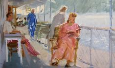 Анатолий Васильев. Теплоход на Каме. Карт.м.,22,3х32,7. 1953