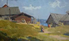 Анатолий Васильев. Деревня Хохловка на Каме. Карт.м.,20,5х31,5. 1953