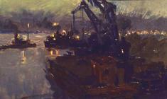 Анатолий Васильев. Порт на Каме. Карт.м., 10х16,5. 1953