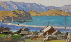 Анатолий Васильев. Деревня Сохюрты. Карт.м.,10х17. 1963