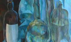 Нина Веселова. Стекло на голубом фоне. Дер.,м., 93х60. 1958