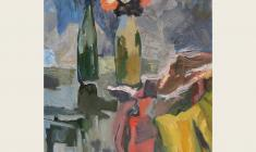 Ростислав Вовкушевский. Натюрморт с жёлтой материей. Х.м.,80х60. 1991