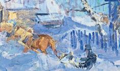 Василий Голубев. Лошадки. Карт.м.,60х49,5. 1962