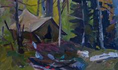 Абрам Грушко. Палатка в лесу. Карт.м.,24,2х33,5.,1965
