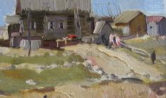 Алексей Ерёмин. Берег рек. Карт.м.,18х22,5. 1956