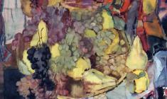 Сергей Захаров. Натюрморт с фруктами. Бум.акв.,58х65. 1986