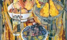 Сергей Захаров. Натюрморт с грушами. Бум.,акв.,44х50. 1986