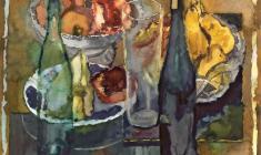 Сергей Захаров. Натюрморт с гранатами. Бум.акв.,46х50. 1980