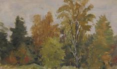 Рубен Захарьян. Деревья. Х.м.,12,5х18,5. 1958
