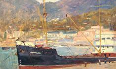 Рубен Захарьян. В морском порту. Карт.м.,31х40. 1953