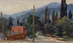 Рубен Захарьян. Улочка в Гурзуфе. Х.м.,14,3х32,8. 1953