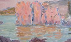 Рубен Захарьян. Алый и лазурный. Карт.м.,14,8х34,4. 1953