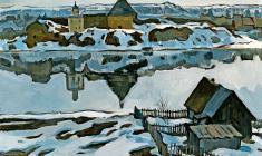 Марина Козловская. Крепость в Старой Ладоге. Х.м.,50х70. 1974