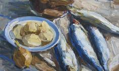Энгельс Козлов. Синяя селёдка. Х.м.,46х57. 1965