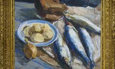 Энгельс Козлов (1926 - 2007). Синяя селёдка. Х.м., 46х57. 1965. Цена по запросу. Engels Kozlov. Blue Herring. Oil on canvas. Price on request.  恩克里斯 卡扎罗夫