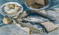 Энгельс Козлов. Натюрморт с селёдкой. Х.м.,40х65,5. 1965