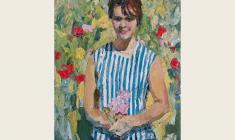 Энгельс Козлов. Портрет молодой женщины с букетиком сиреневых цветов. Х.м.,85х64. 1964