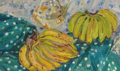 Майя Копытцева. Натюрморт с бананами. Х.м.,70х80. 1975