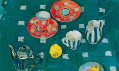 Майя Копытцева. Чайный сервиз на скатерти. Х.м.,59х68. 1958
