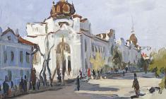 Борис Корнеев. Главная улица в Бийске. Карт.м.,15,2х24,5. 1953